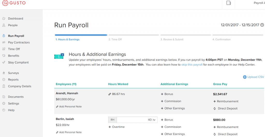 hr outsourcing - Gusto Payroll Screenshot showing menu