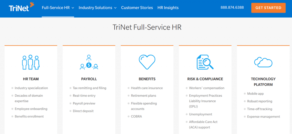 TriNet peo - six best PEOs for small business TriNet PEO services