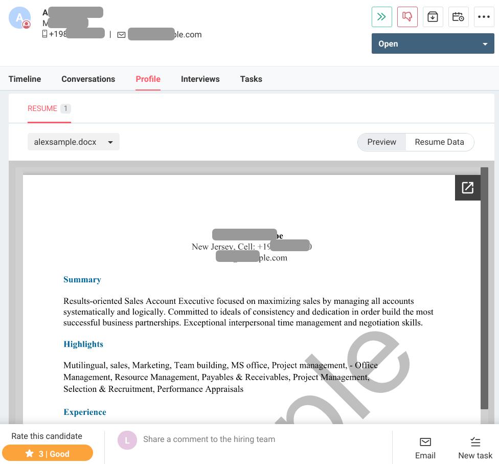 Resume Screening - Sample Resume preview from Freshteam
