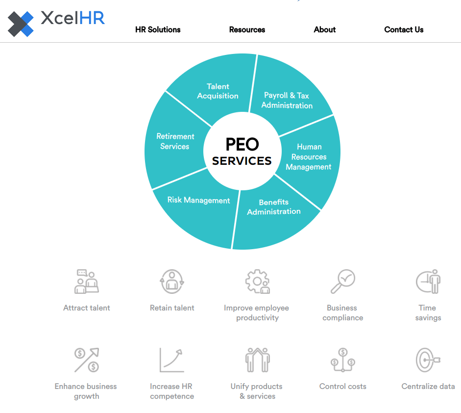 XcelHR peo - six best PEOs for small business - XcelHR PEO services