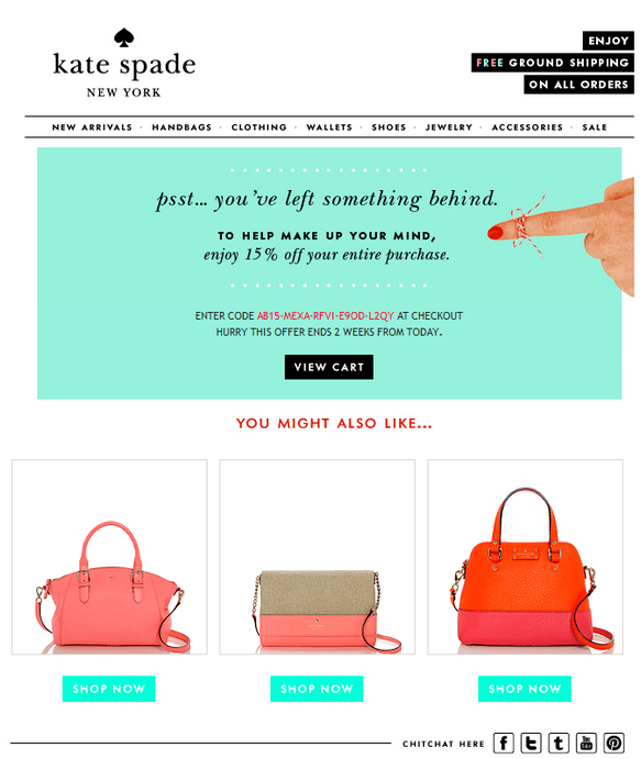 Kate Spade-Abandoned Cart Email-Tips from Pro