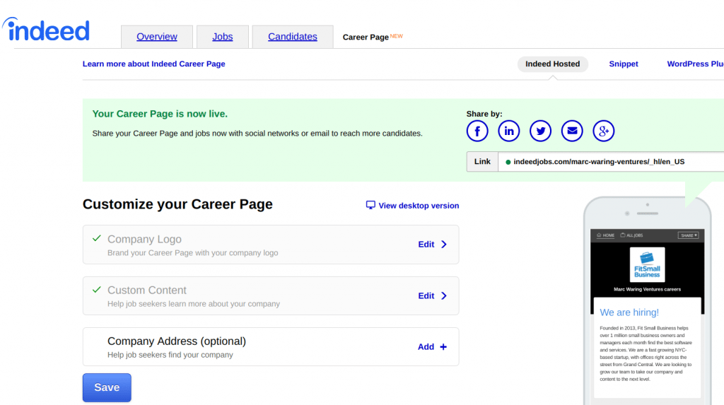 internal recruiting - Career Page options on Indeed