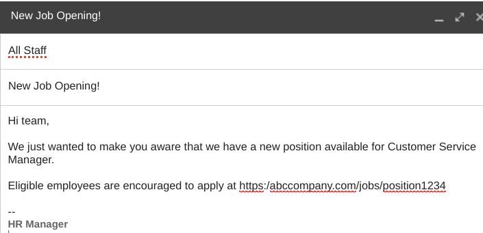 Example of an internal email to notify employees of a new job opening