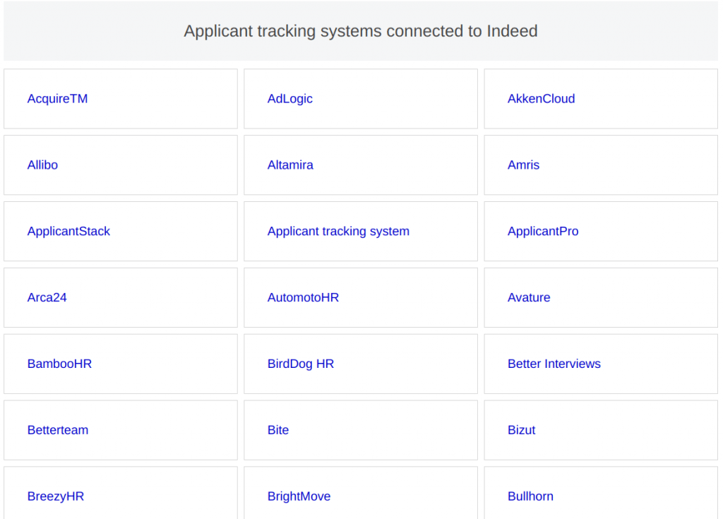 internal recruiting - Screenshot from Indeed showing many of the ATS and HR systems it integrates with - names starting with the letters A and B.