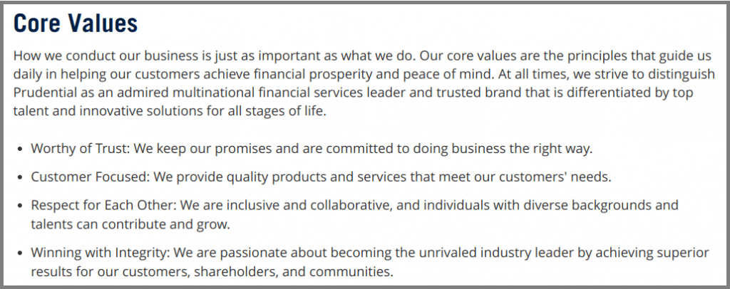 Prudential-Core Values-Tips from Pros