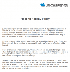 Floating holiday definition how to implement your policy floating holiday policy template friedricerecipe Image collections