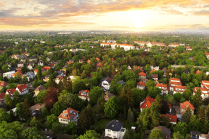 aerial shot of houses and trees