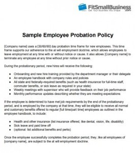 Sample Employee Probation Policy
