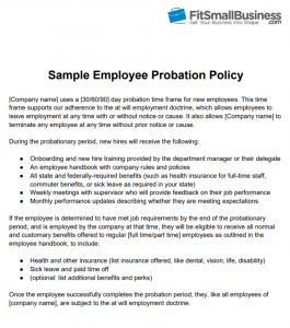 Free Sample New Hire Probation Period Policy from Fit Small Business