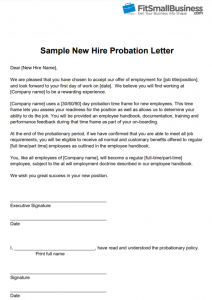 Free Sample New Hire Probation Period Letter Template from Fit Small Business