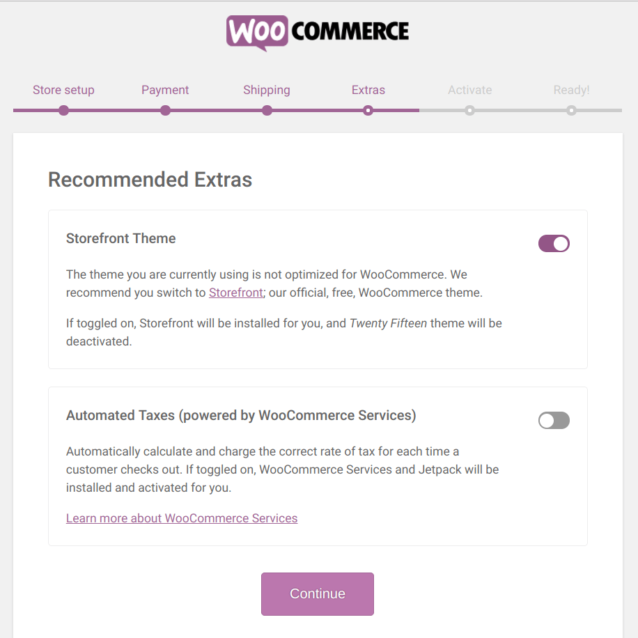 Setting up WooCommerce -- Step two processes