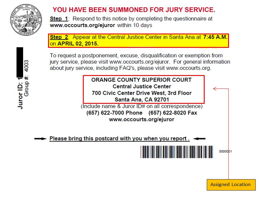 Jury Duty Policy Sample post card size summons for jury duty