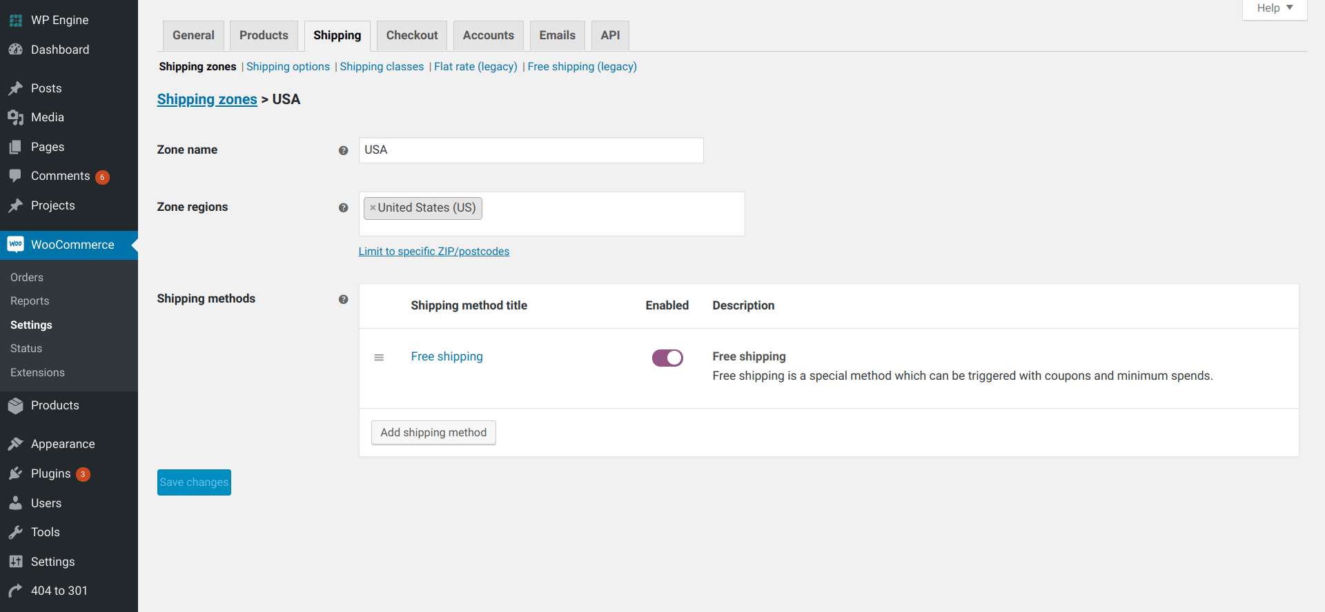 woocommerce shipping - Shipping Zone detail screen