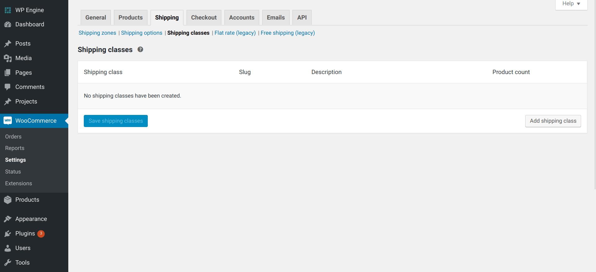 woocommerce shipping - Add Shipping Class screen