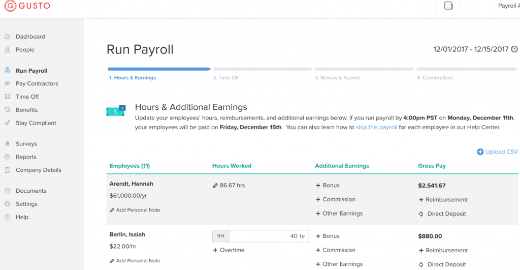 Salary vs Hourly screenshot image of Gusto payroll showing employee pay types