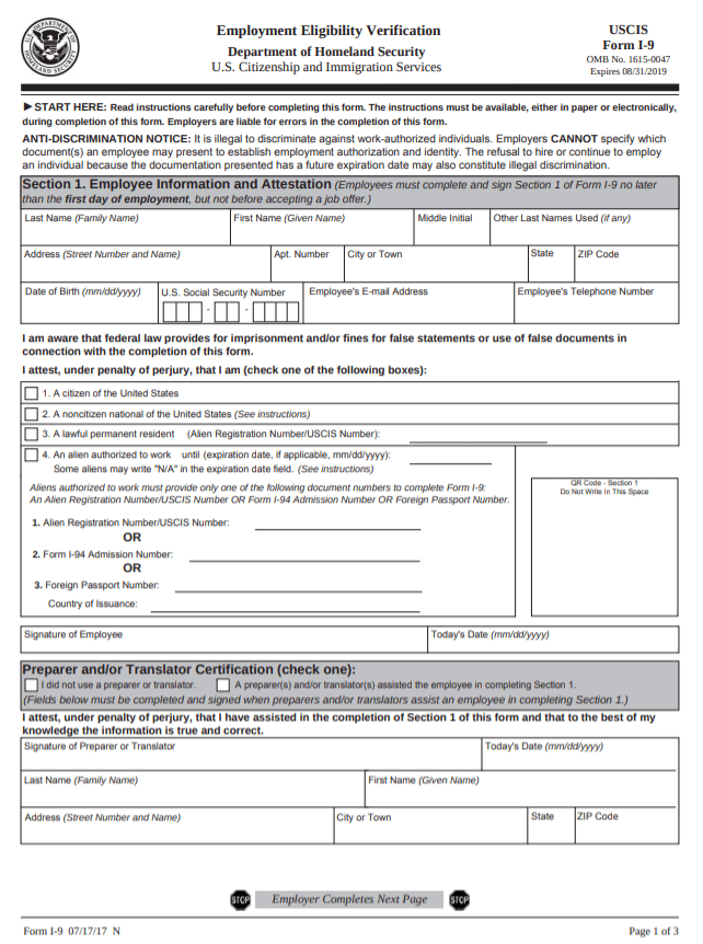 Image of an i-9 form from USCIS Website