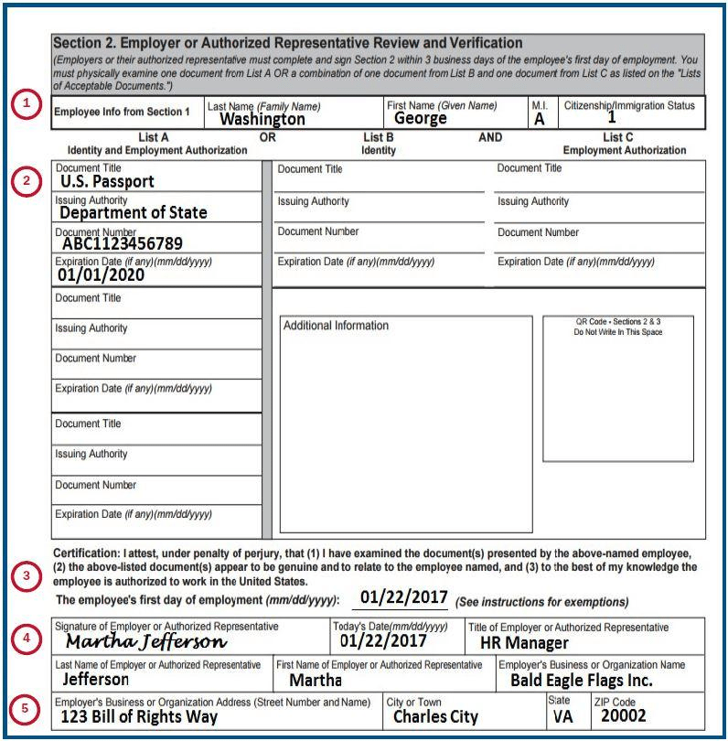 i-9 form Example of Section 2 filled out properly on an I-9 form from USCIS