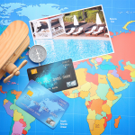 business credit card with a map on the background