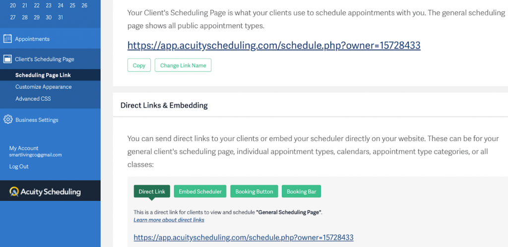 Acuity free appointment scheduling software shares via links