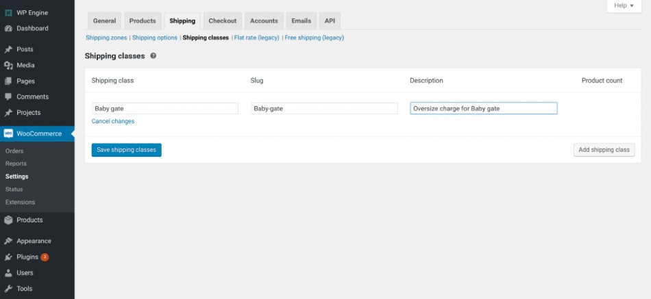 Screenshot of WooCommerce Add Shipping Classes with Details Input