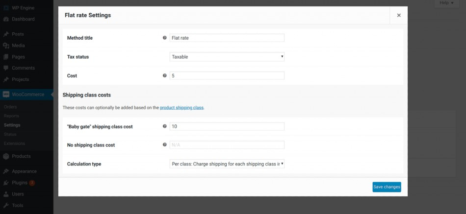 Screenshot of WooCommerce Extended Flat Rate Settings with Optional Shipping Class Fields