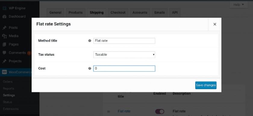Screenshot of WooCommerce Flat Rate Settings