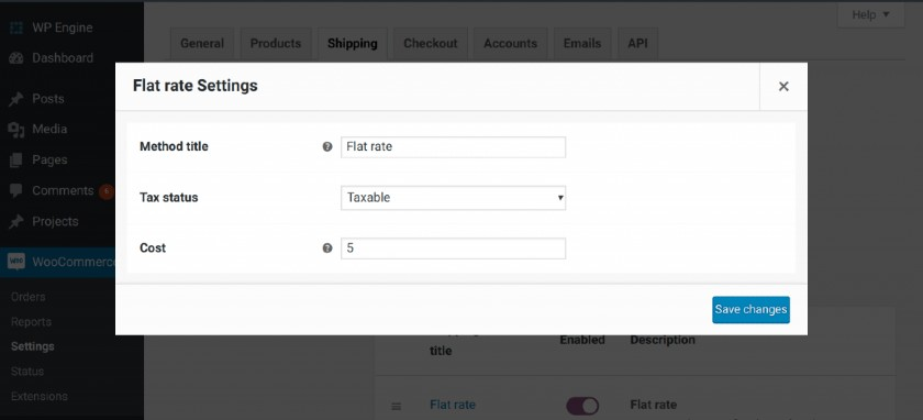 Screenshot of WooCommerce Flat Rate Settings with Flat Shipping Fee