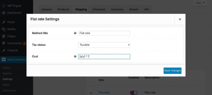 Screenshot of WooCommerce Flat Rate Settings with Flat Shipping Fee Per Item