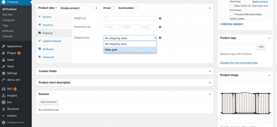 Screenshot of WooCommerce Product Edit with Shipping Classes Selected