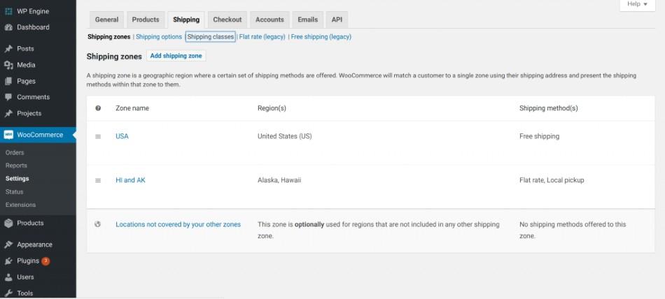 Screenshot of WooCommerce Shipping Classes Settings