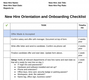 new hire employee checklist