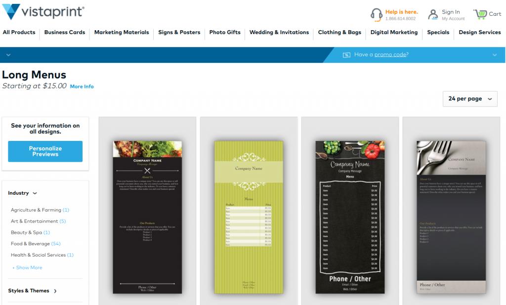 restaurant management - print low cost menus at Vista Print