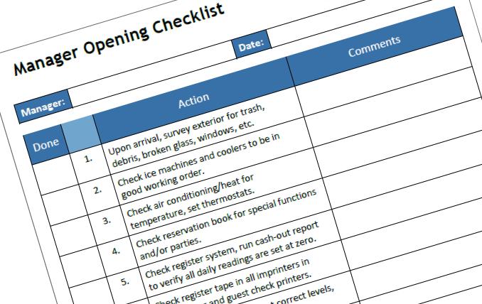 restaurant management is checklist-driven
