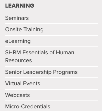 hr Training providers - SHRM Learning Options