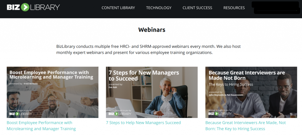 hr Training providers - Examples of BizLibrary Webinars