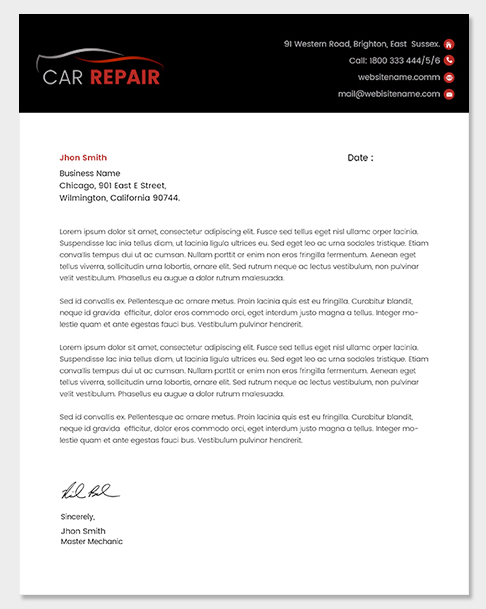 Car Sales and Repairs Letterhead