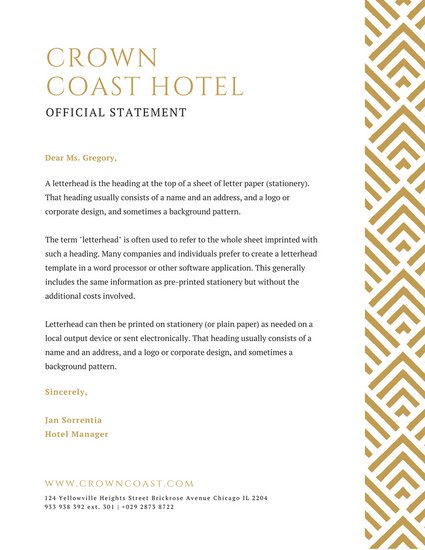 Hotel and Inns Letterhead