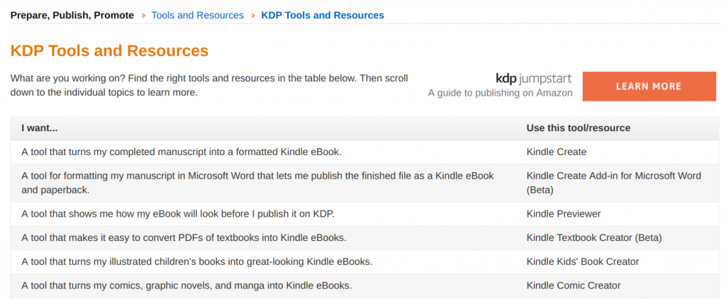 Amazon KDP tools for Kindle Format -- how to save an original e-book in a Kindle book format