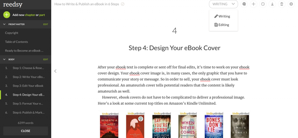 Use Reedsy to write, format, and save an Kindle Format ebook