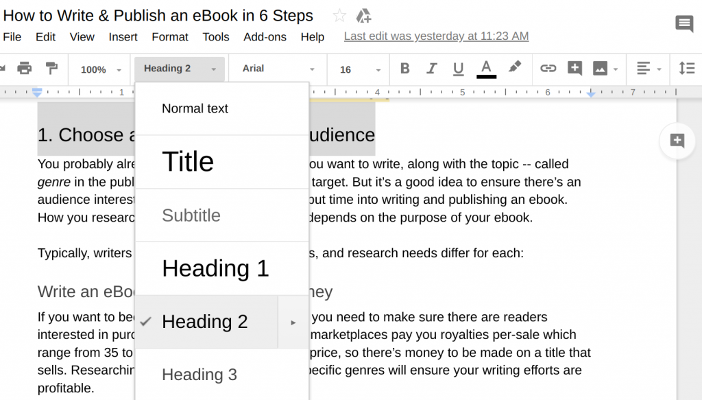Google headers helps you format a table of contents for Kindle format ebook