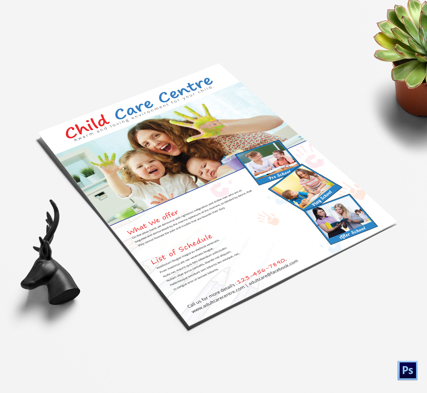 Heartfelt Child Care Center Flyer Template - daycare flyers