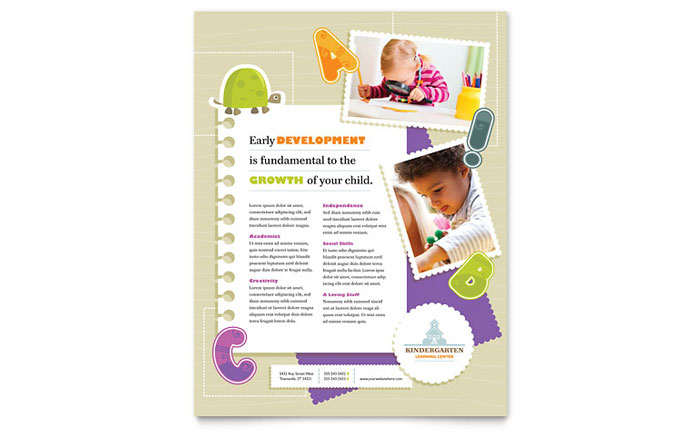 Kindergarten and Daycare Flyer Template - daycare flyers