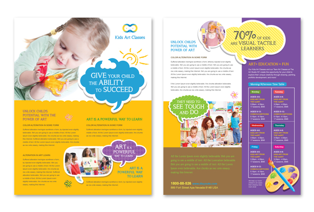 Kids Art Classes Multipurpose Flyer Template - daycare flyers
