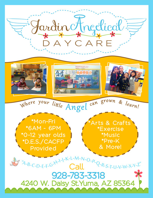 Jardin Angelical Daycare Flyer - daycare flyers