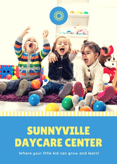 Blue and Yellow Daycare Flyer Template - daycare flyers