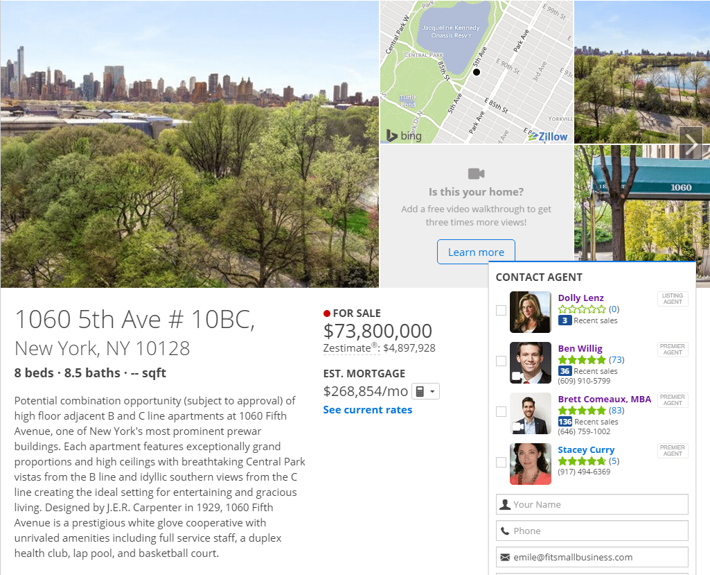 zillow premier agent - 1060 5th screenshot