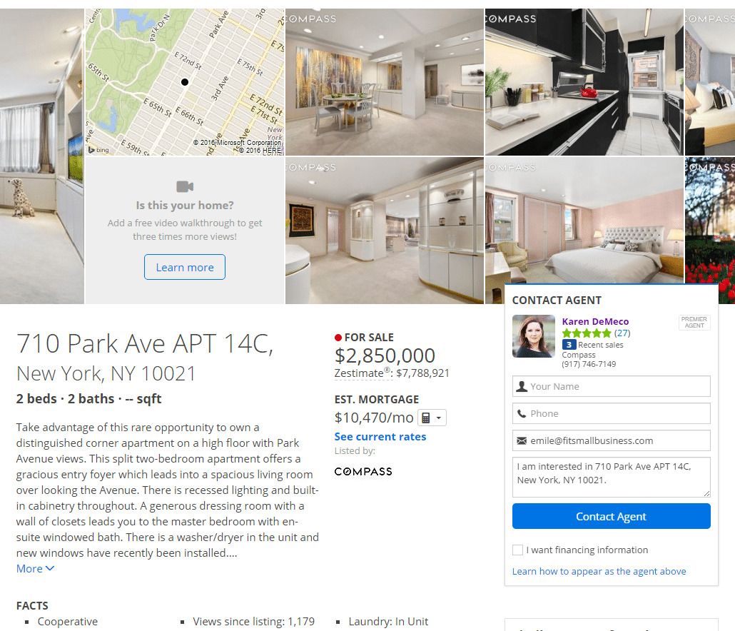zillow premier agent - screenshot 710 park