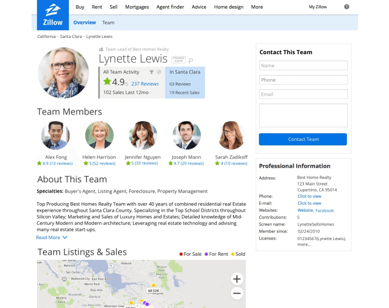zillow premier agent -team screenshot