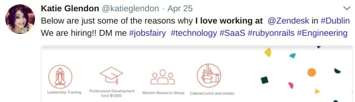 Screenshot of Employee Sharing Why She Loves Working at Zendesk Example