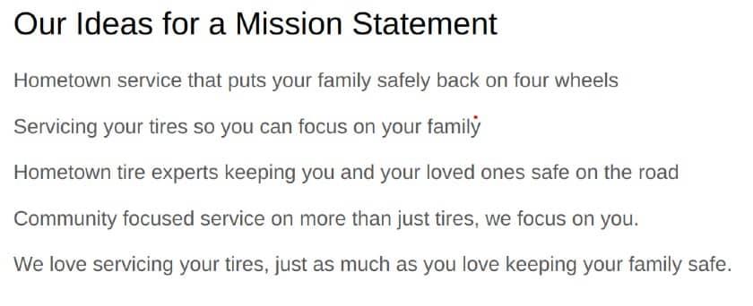 Screenshot of Mission Statement Ideas